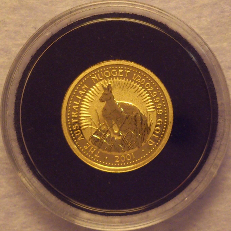 2001, Australian Nugget, gull - Krokkleiva  - 2001 Australian Nugget, 1/20oz, 9999 gull. Proof mynt i kapsel. Selges kr 695,- + porto, (skam-bud er unødvendig).  Vennligst ikke ring, send sms, pga sykdom. - Krokkleiva