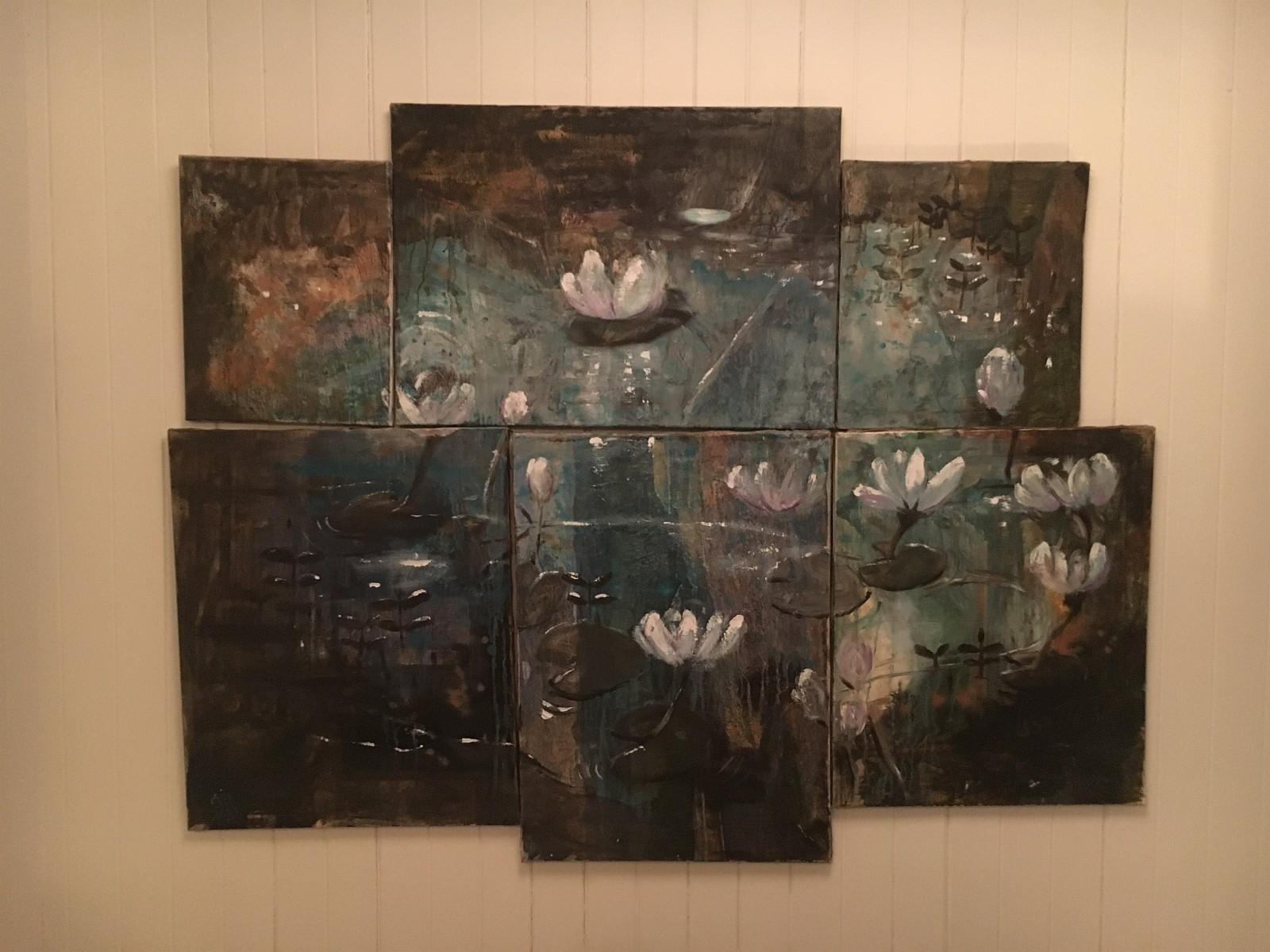 Maleri signert Laila i Son - Hakadal  - Bildet består av 6 oljemalerier på lerret som danner hovedmotivet. Selges med tungt hjerte pga flytting. Gi bud. - Hakadal