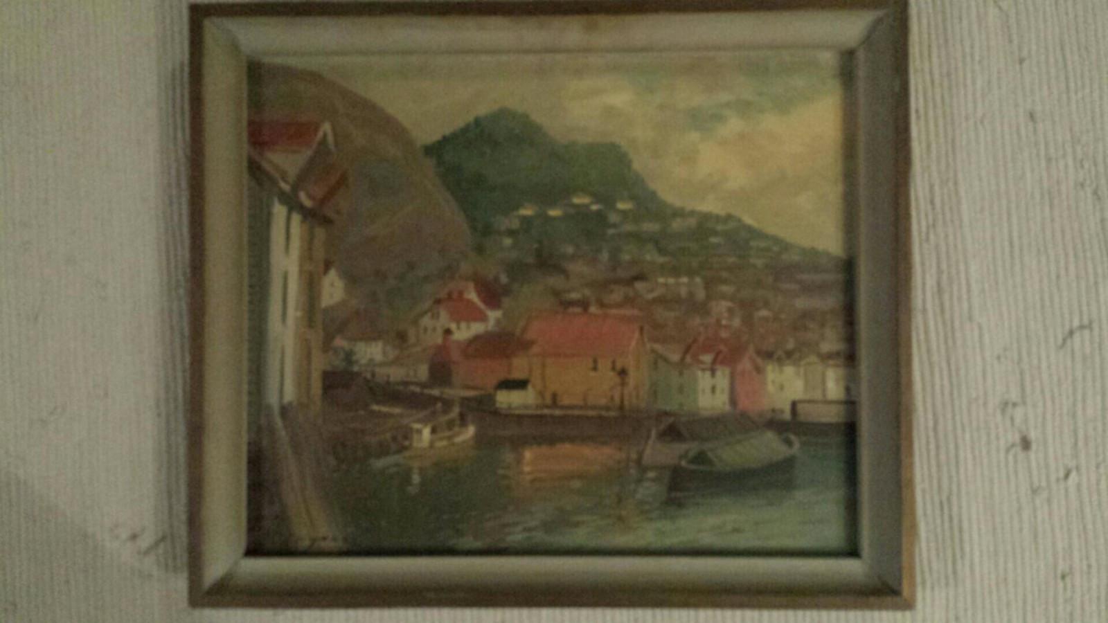 Maleri av Andreas Grynne - Loddefjord  - Høyde 43 cm og bredde 51 cm - Loddefjord
