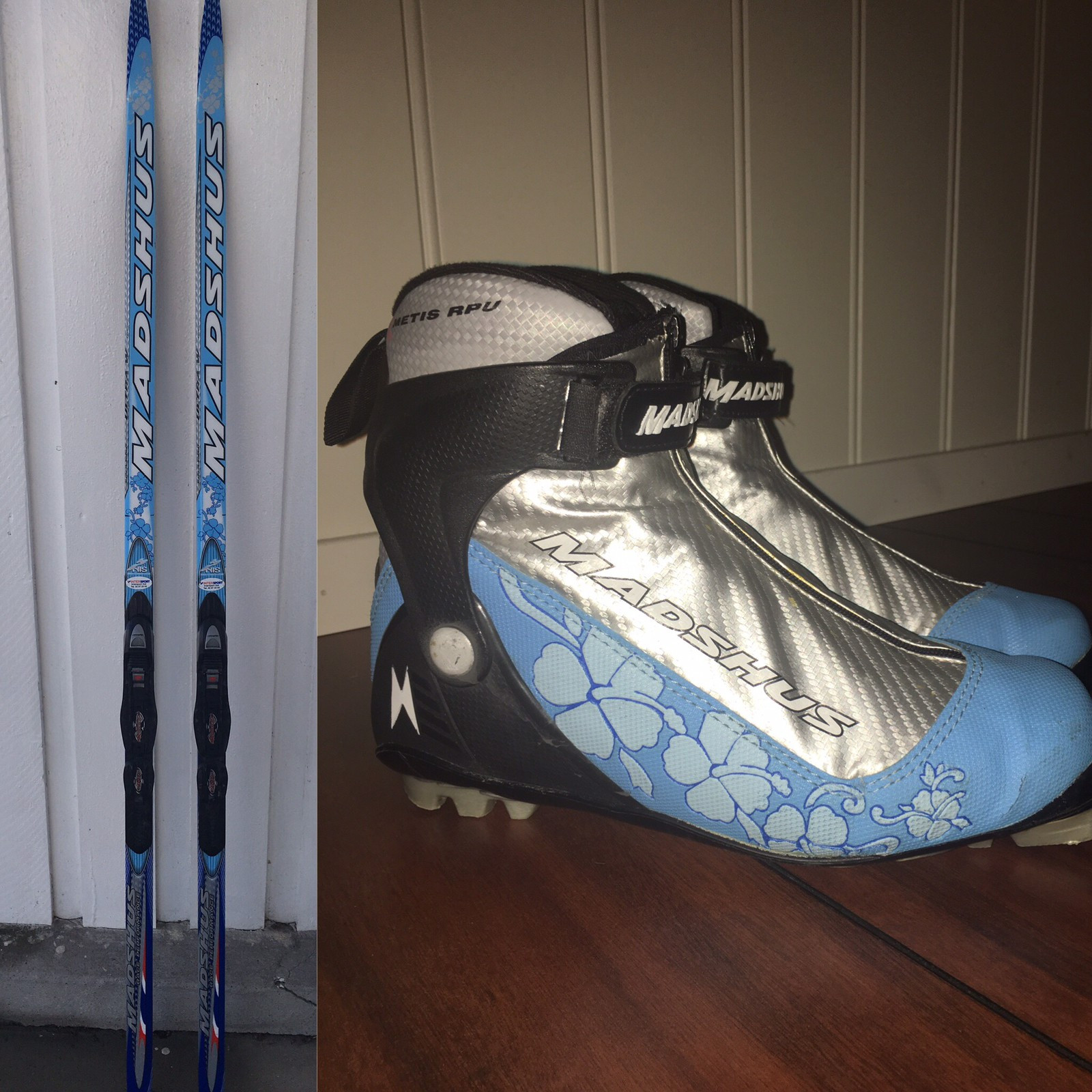 Madshus klassisk ski W (180 kg 60-70)+ skisko strl 39 - Skien  - Madshus 382 Ultra W Classic ski - kr 1000 - Mål 41-43-43 - Lengde 180 cm  - Vekt 60-70 kg  - Fungerer til å skøyte med også, en god kombiski   Madshus RPU light blue skisko - kr 400 - Samme stilige design som skia  - St - Skien