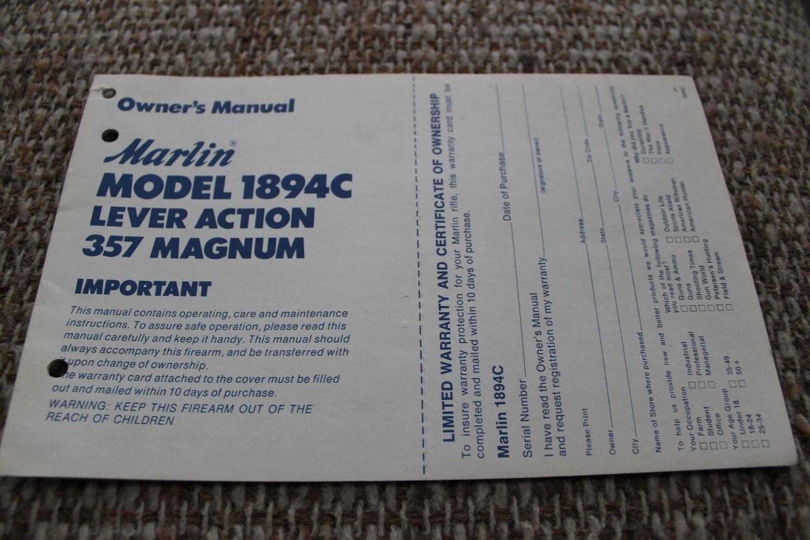 Original Marlin mod. 1894C instruksjons og deleliste - Sandnes  - Original instruksjons og deleliste til Marlin mod. 1894C kal. 357 Magn. Frakt kommer i tillegg med kr. 25,-. - Sandnes