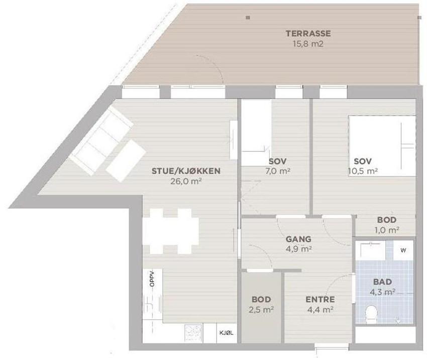 Plantegning leilighet 202
