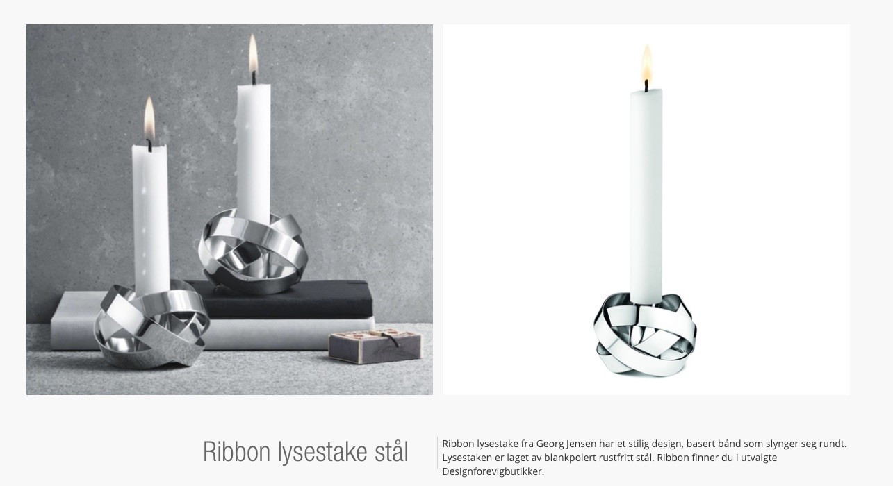 Modish Georg Jensen Ribbon lysestake stål | FINN.no SQ-74