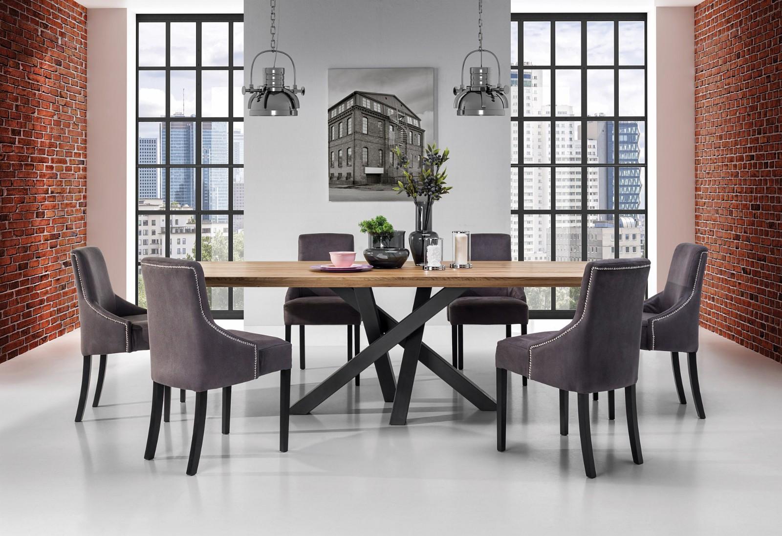 Moderne spisebord Senso 100x220 cm ståll eik