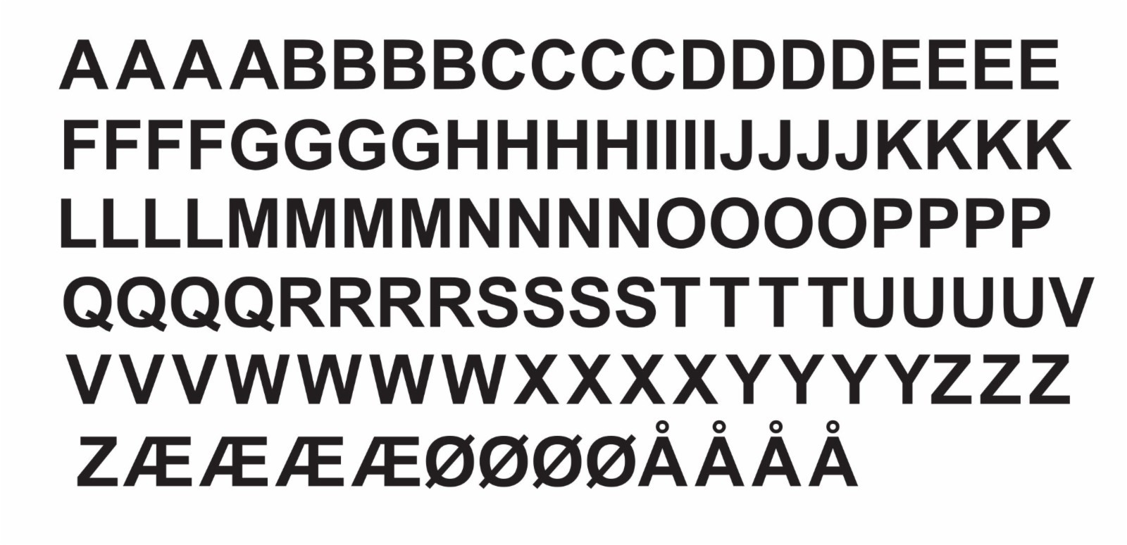 Selvklebende bokstaver, HxB 230x140 mm, sett A – Z