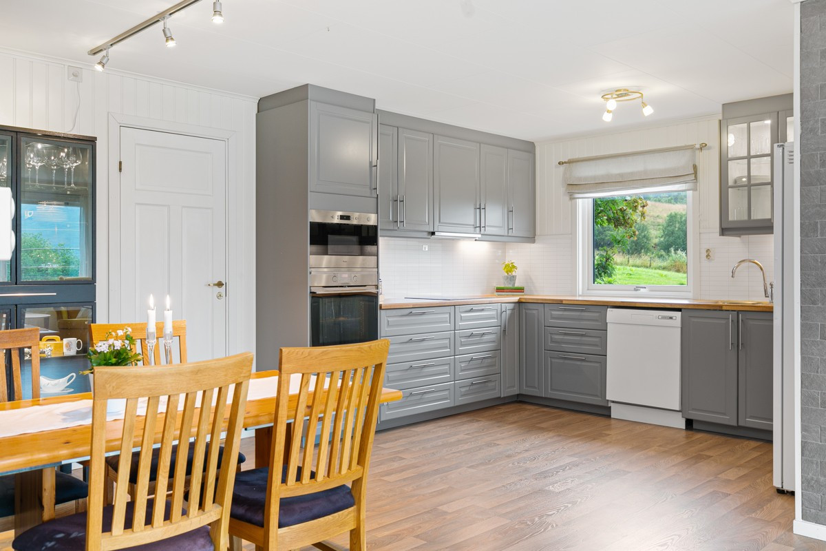 Moderne kjøkken med integrert stekeovn og koketopp