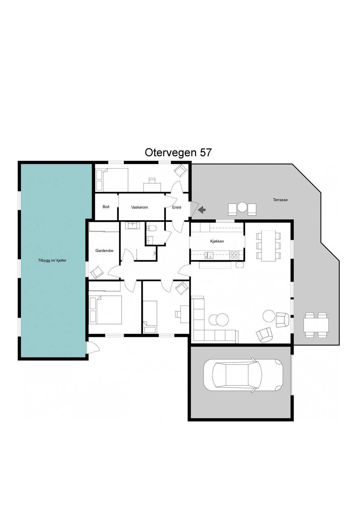 Planskisse - under tilbygg(grønt) er det en like stor underetasje med egen inngang og delvis åpent mellom etasjene slik at det kan etableres trapp.