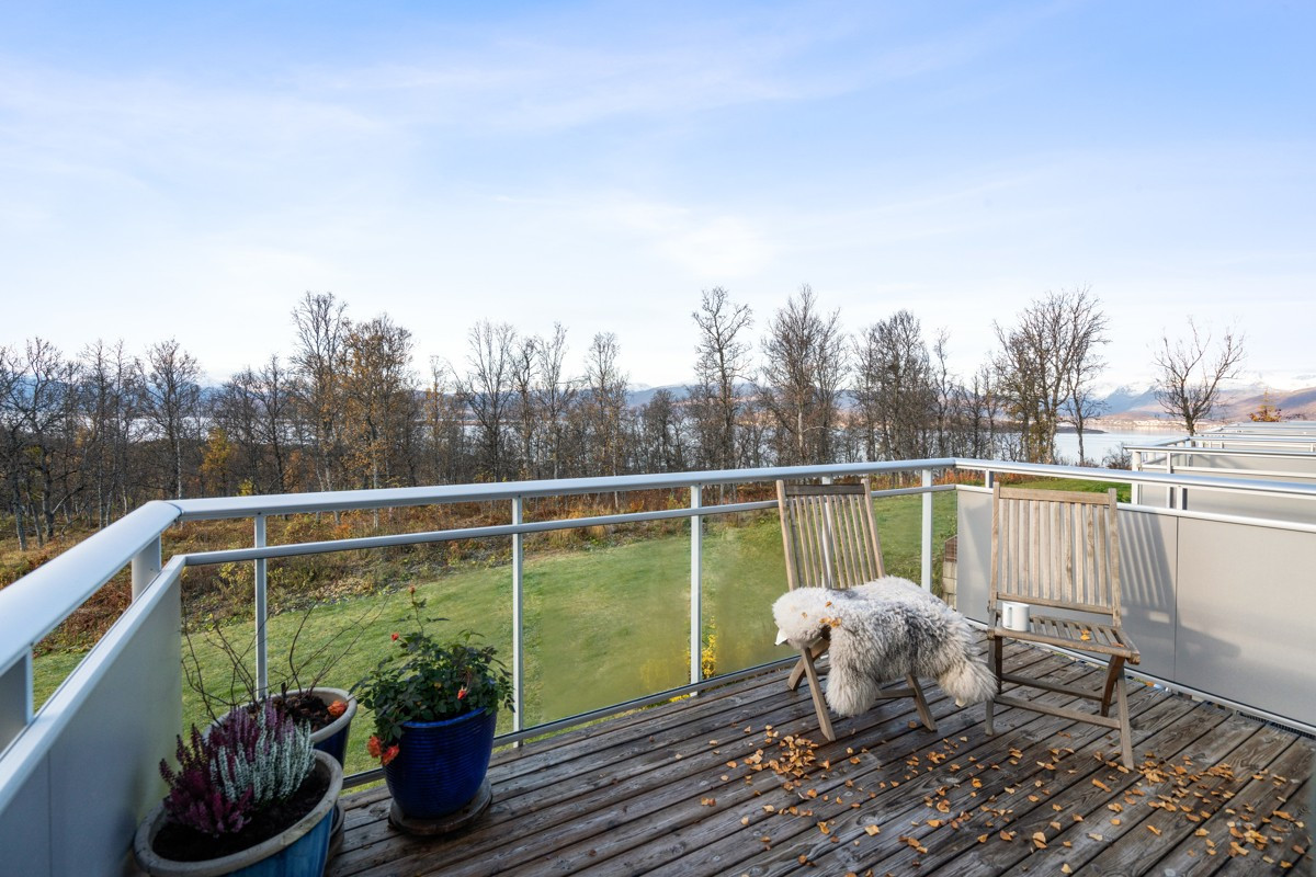 Utsikt fra sørvestvendt veranda - Rolig og barnevennlig område et steinkast fra lysløypa