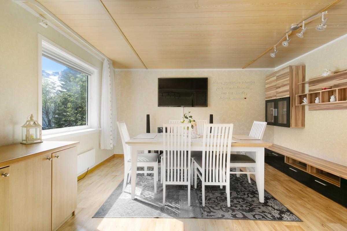 Rikelig med lysinnslipp og fin utsikt fra stort vindu i stue