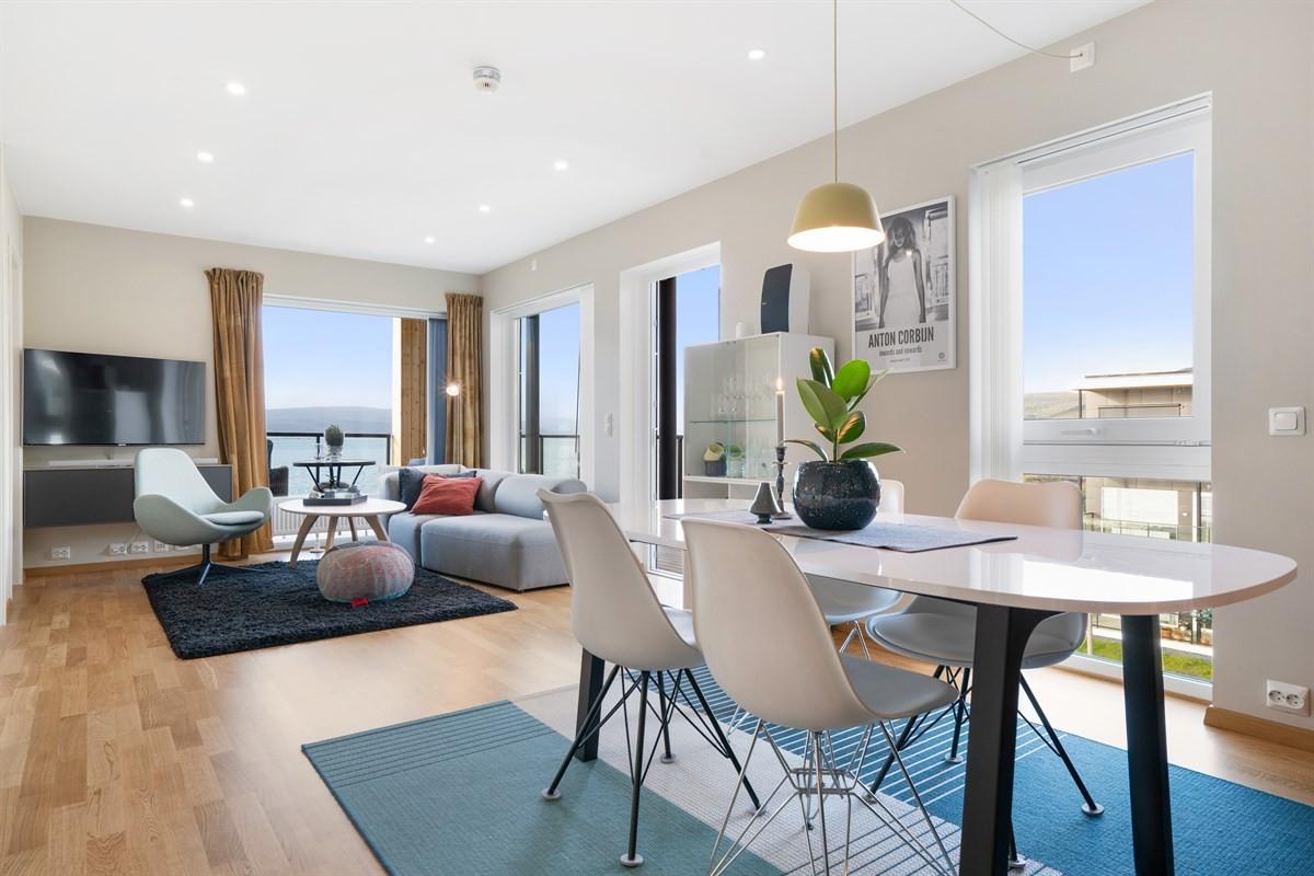 Fin og stilfull leilighet i toppetasjen med nydelig sjøutsikt