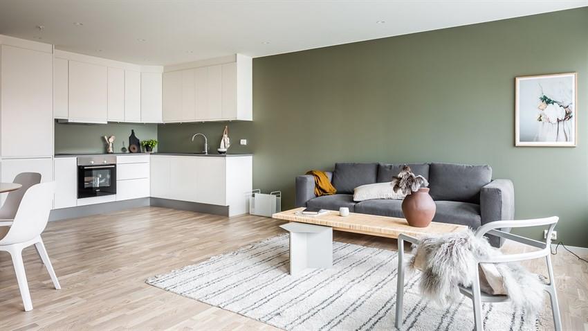 Stue/kjøkken (Bildet er hentet fra tilsvarende leilighet, avvik kan forekomme)