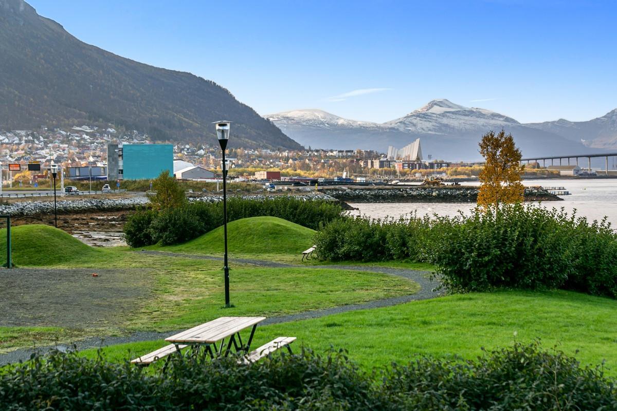 Fine grøntområder. Fellesareal er opparbeidet med terrasser, plattinger og lekearealer
