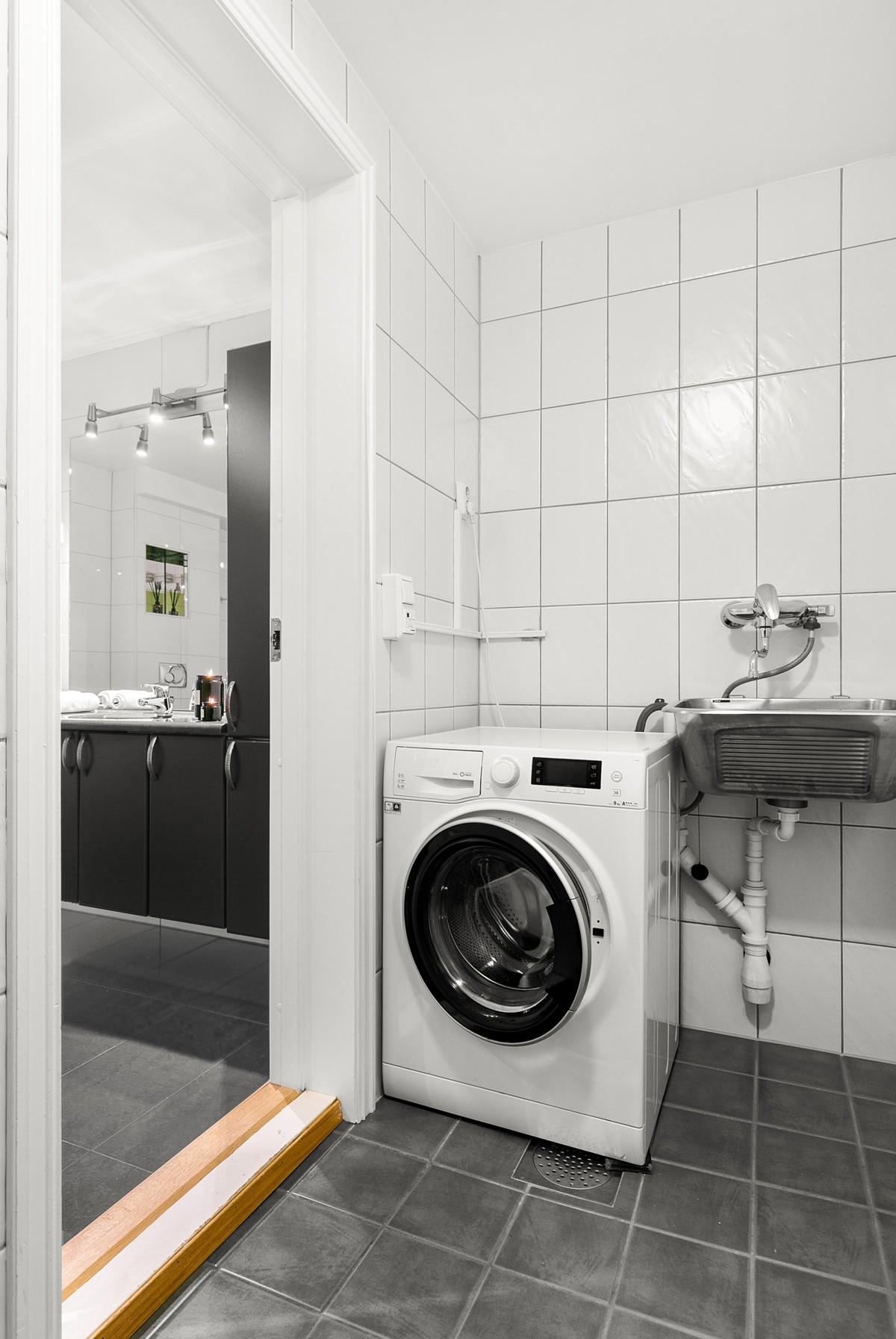 Komplett flislagt vaskerom