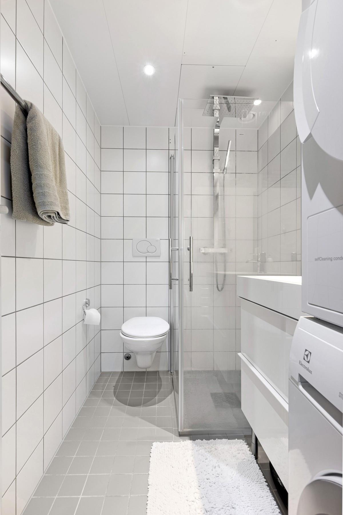 Komplett flislagt bad med gulvvarme