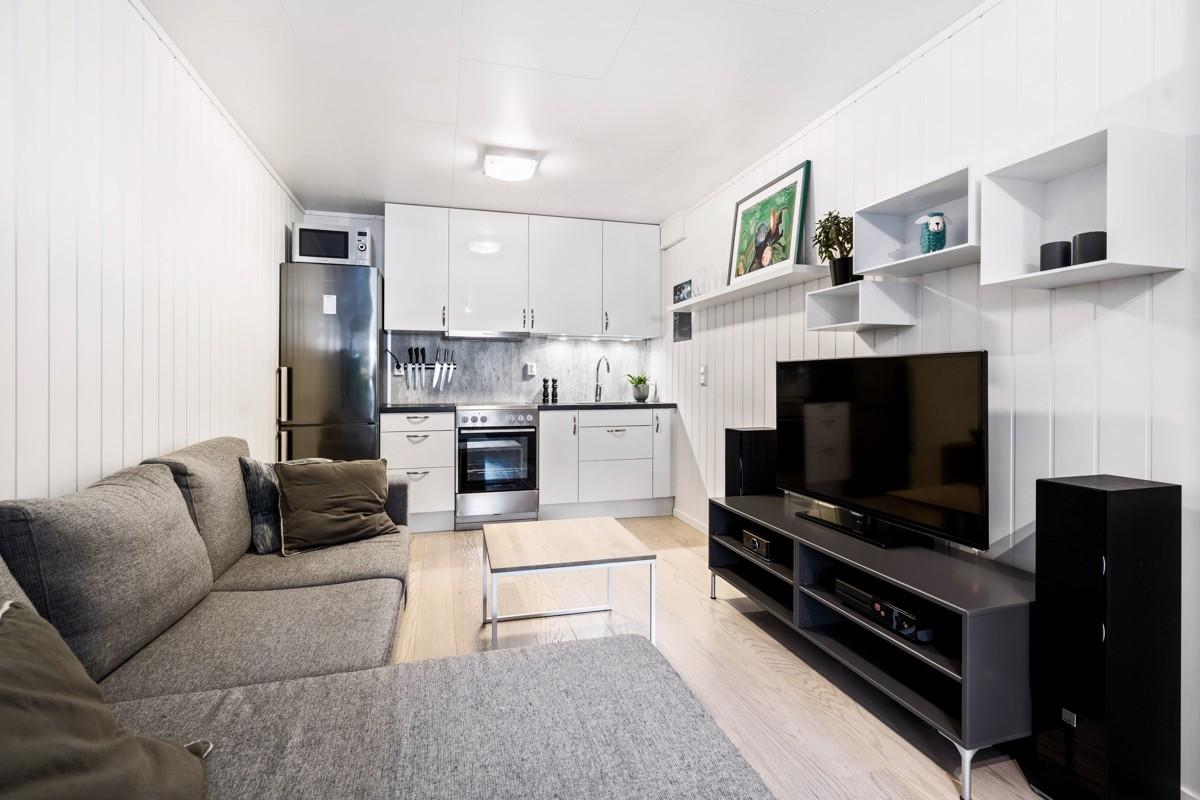 Soverom i underetasjen er innredet som hybel med stue/kjøkken og god plass til seng
