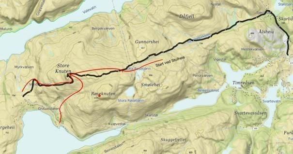 Kart Fra Gravasstølen til Ålsheia