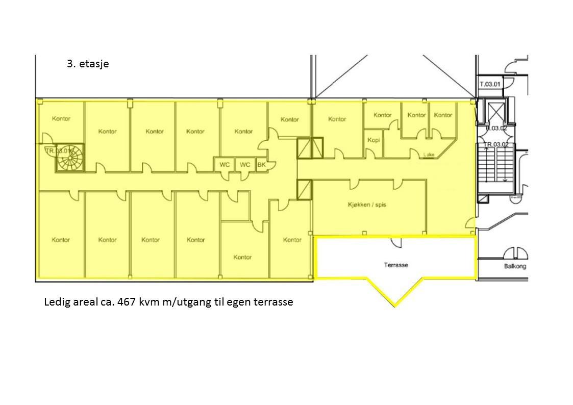 Planskisse 3. etasje - 467 kvm