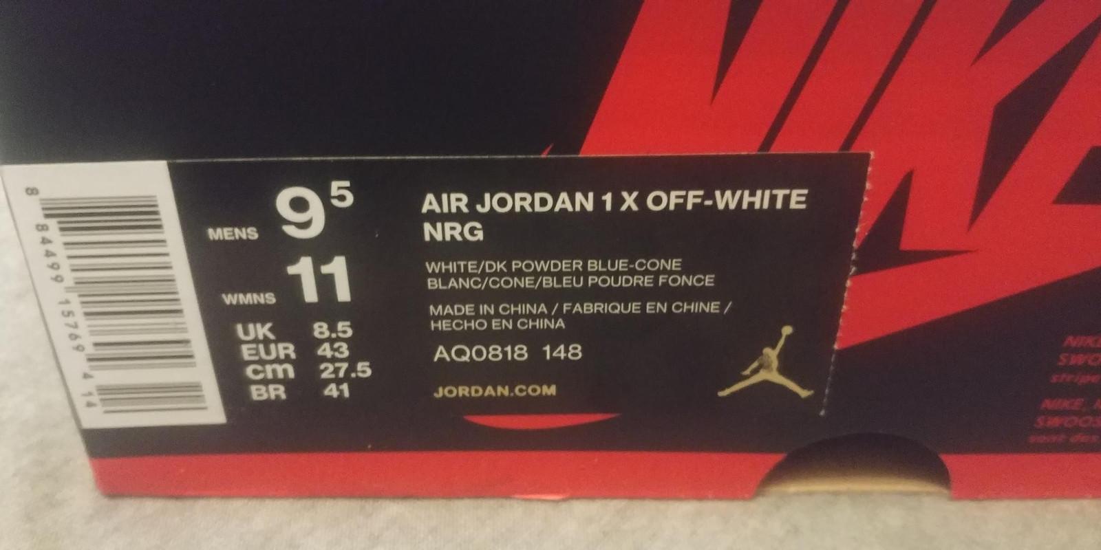 OFF WHITE x Air Jordan 1 Powder Blue (UNC) •