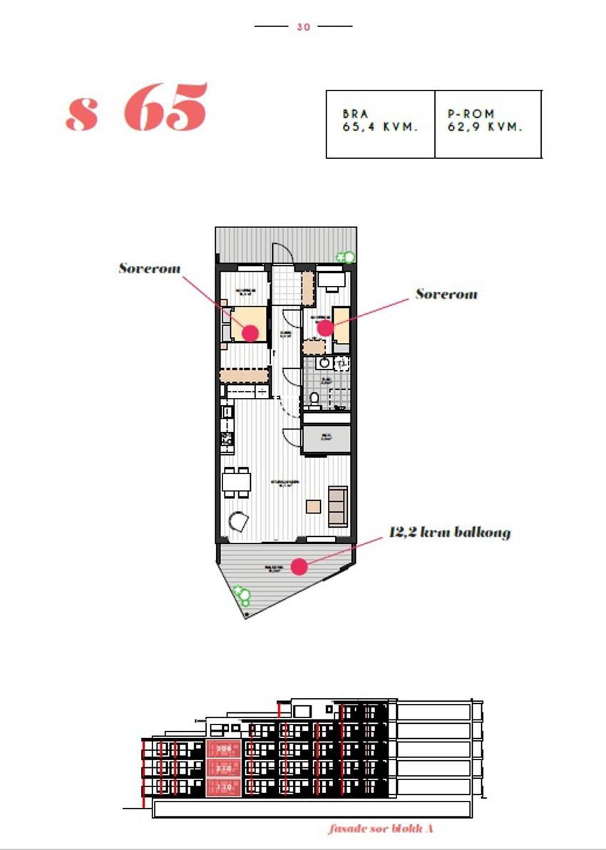 Planskisse - leiligheten har praktisk planløsning