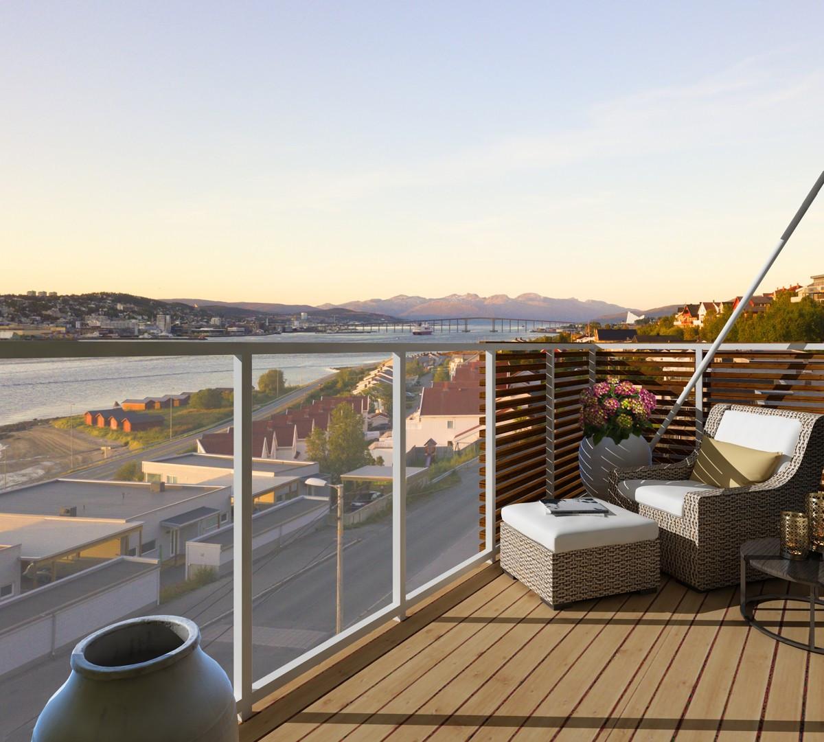 Illustrasjonsfoto - fra stue er det utgang til romslig balkong på ca 12 kvm der soldager kan nytes