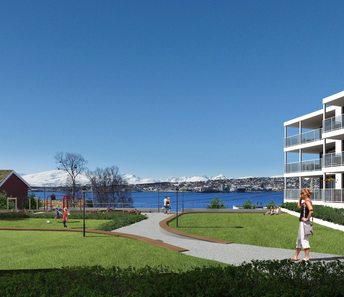Fra boligen er det kort veg til barnehage, skole og rekreasjonsmuligheter. Bussholdeplass i umiddelbar nærhet med direkterute til Tromsø sentrum og Jekta handelspark