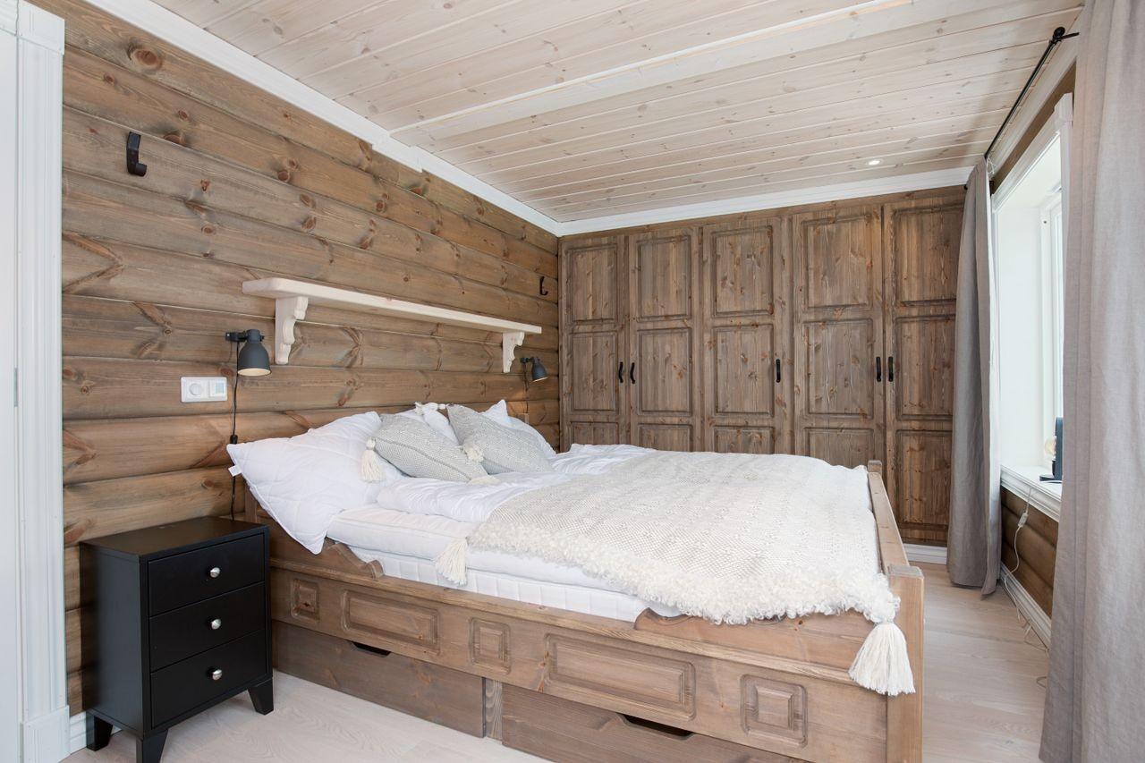 Eksempel på soverom i Buen Kløvfjell. Dette er en illustrasjon av tilsvarende  prosjektert hytte.