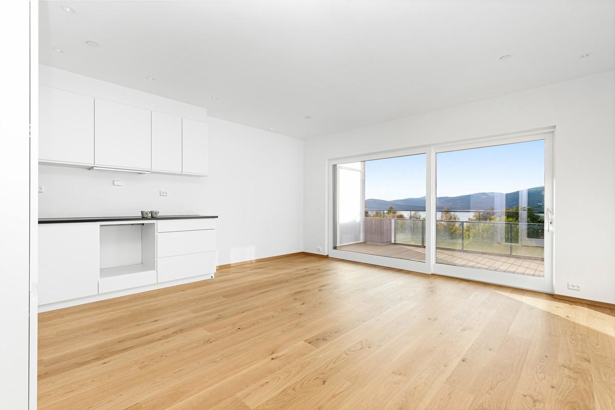 Stue og kjøkken med nydelig utsikt fra vindu og balkong