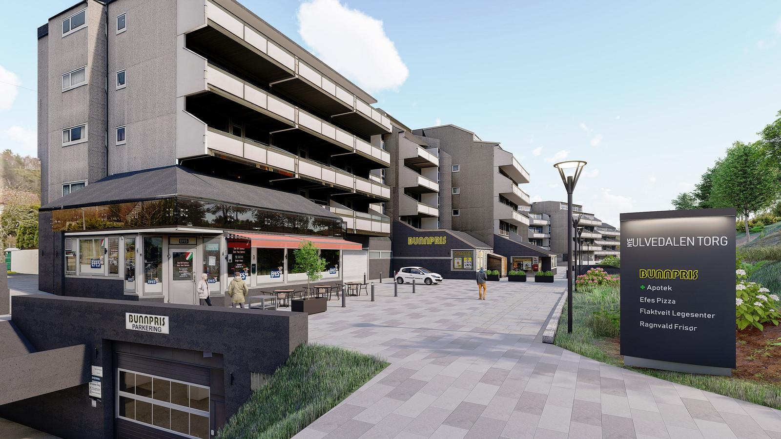 Ulvedalen Torg planlegges revitalisert med oppgraderte uteområder.