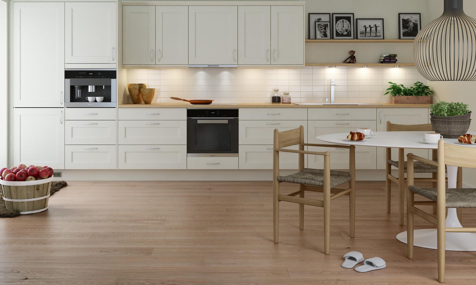 Huseby kjøkken som standard i leveransen. Eksempelbilde på aktuell front og design.