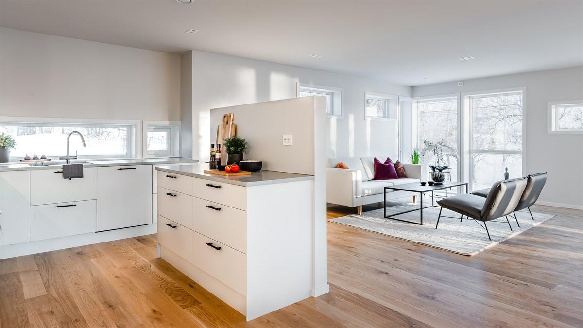 Åpen løsning mellom stue ogh kjøkken med masse lysinnslipp