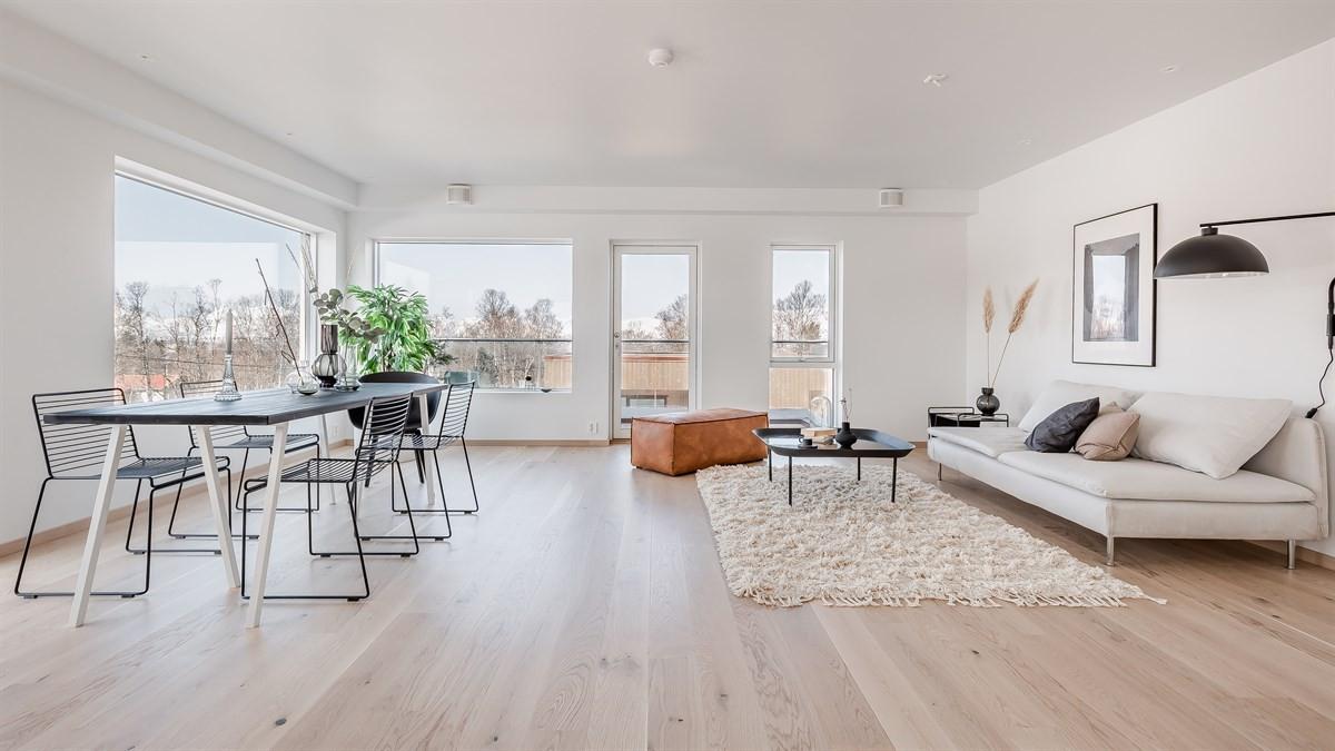 Romslig stue med store vindusflater som gir godt lysinnslipp