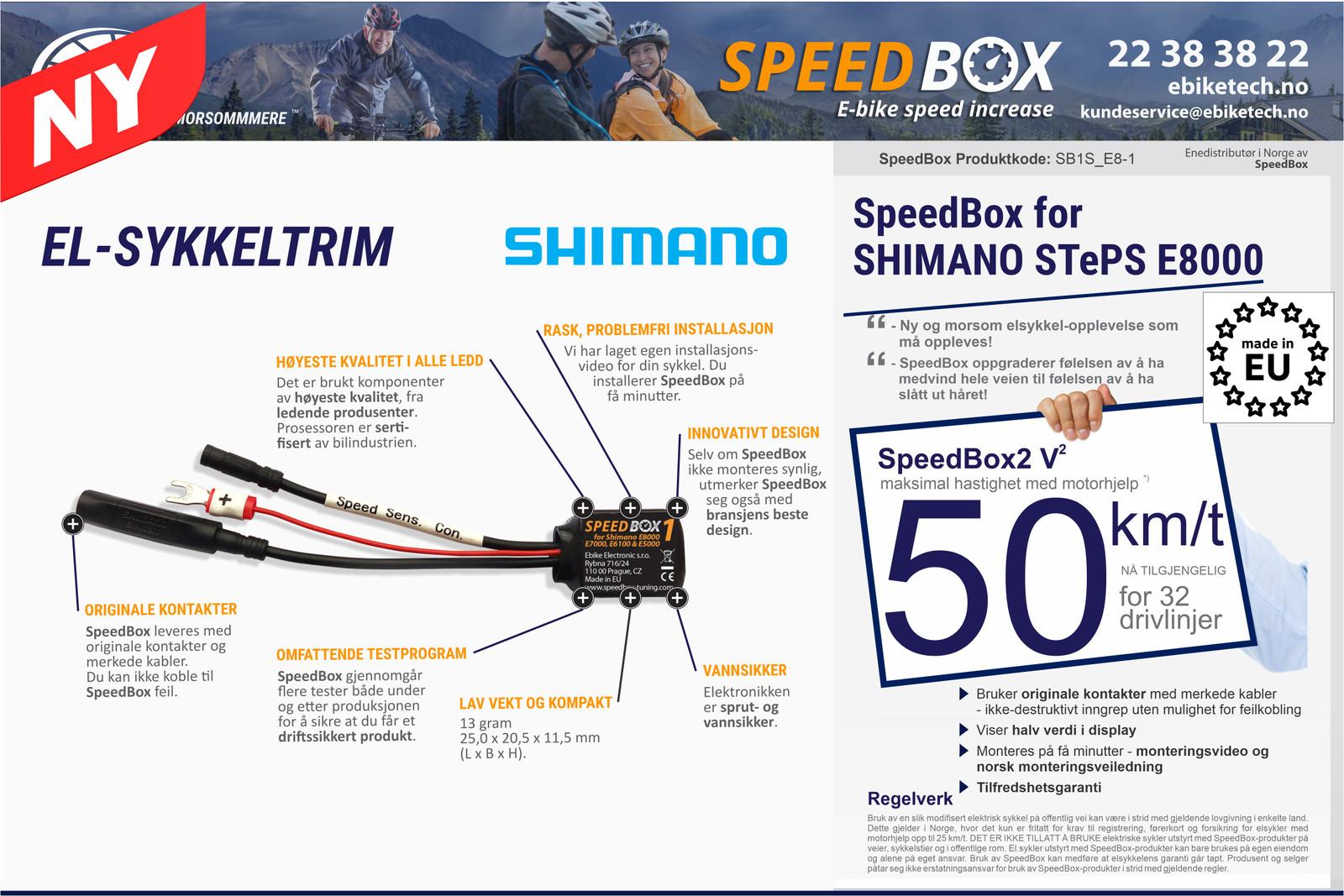 SpeedBox V2 Sykkeltrim for SHIMANO STePS E8000 motor