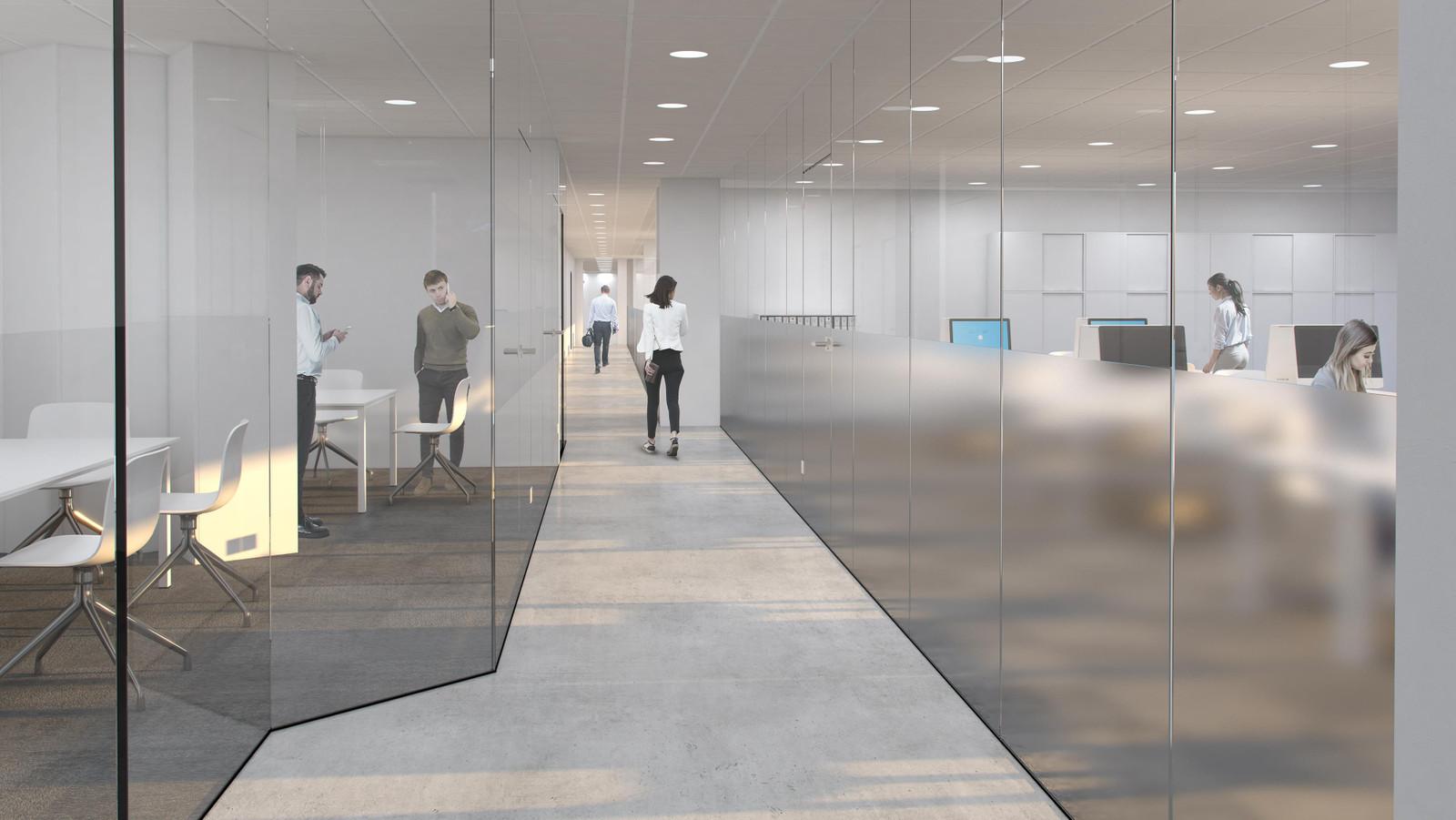 Glassvegger mellom kontorer/møterom/fellesareal