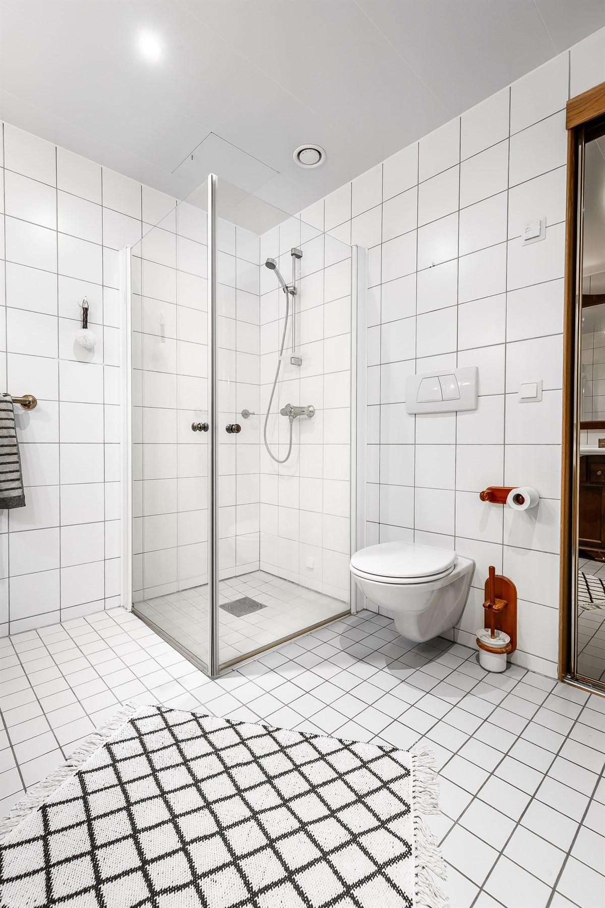 Baderom. Det er mulig å gjenåpne døren fra bad til gang med enkle grep.