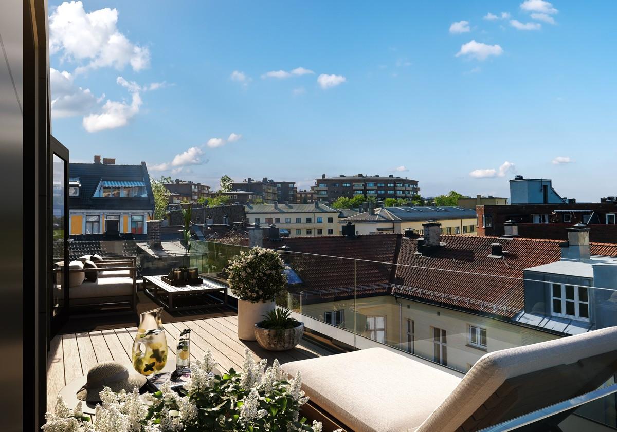 Ny, unik 4-roms penthouse o/2 plan m/hems. Heis og solrik privat takterrasse på 18 kvm. Mul. for kjøp/leie av garasjepl.
