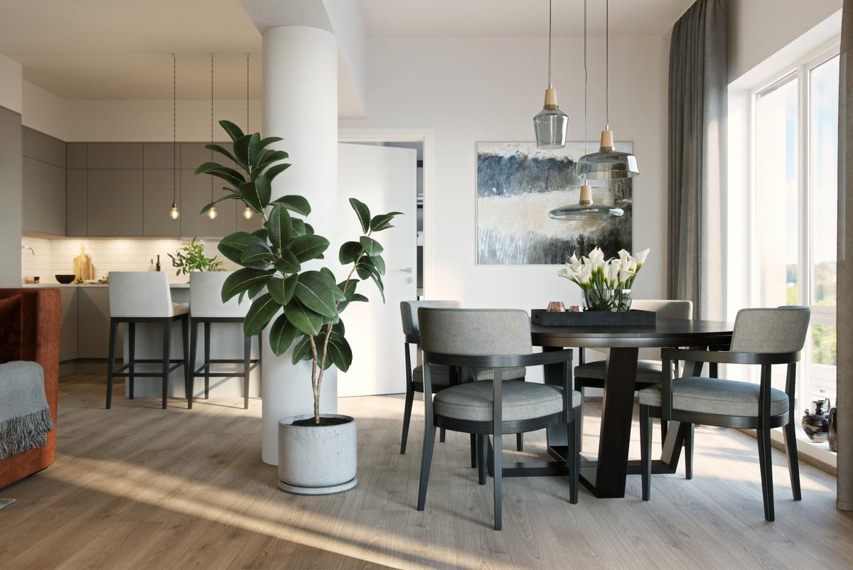 Velkommen til en helt ny leilighet med kvalitet og smarte detaljer. Illustrasjon fra leilighet B804.