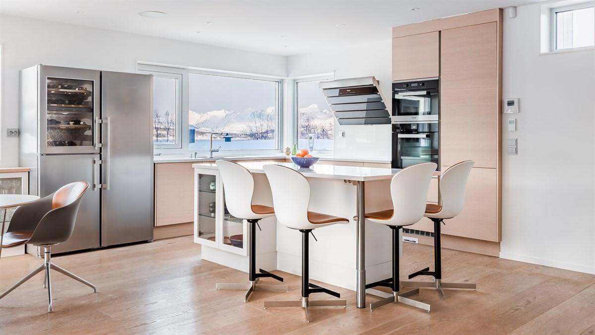 Kjøkkenet med avtrekksvifte, samt integrert stekeovn, micro m.m.