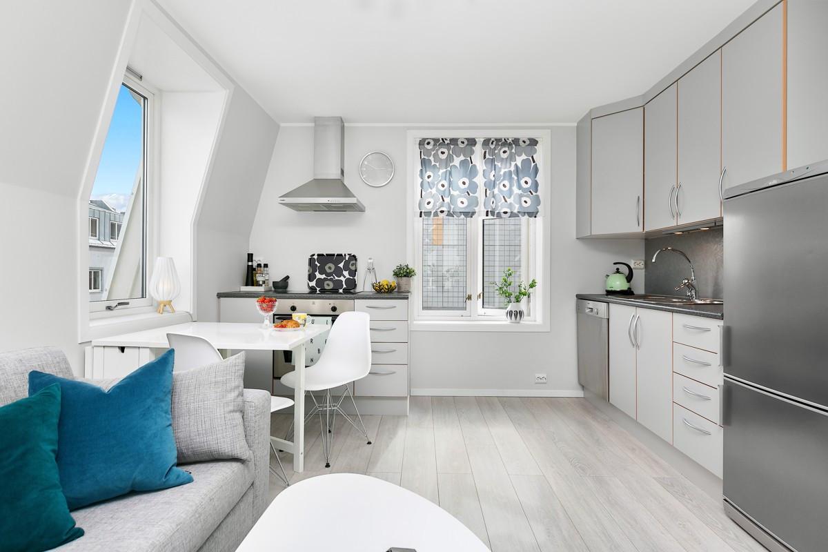Både komfyr, oppvaskmaskin og kjøleskap m/frys følger med leiligheten