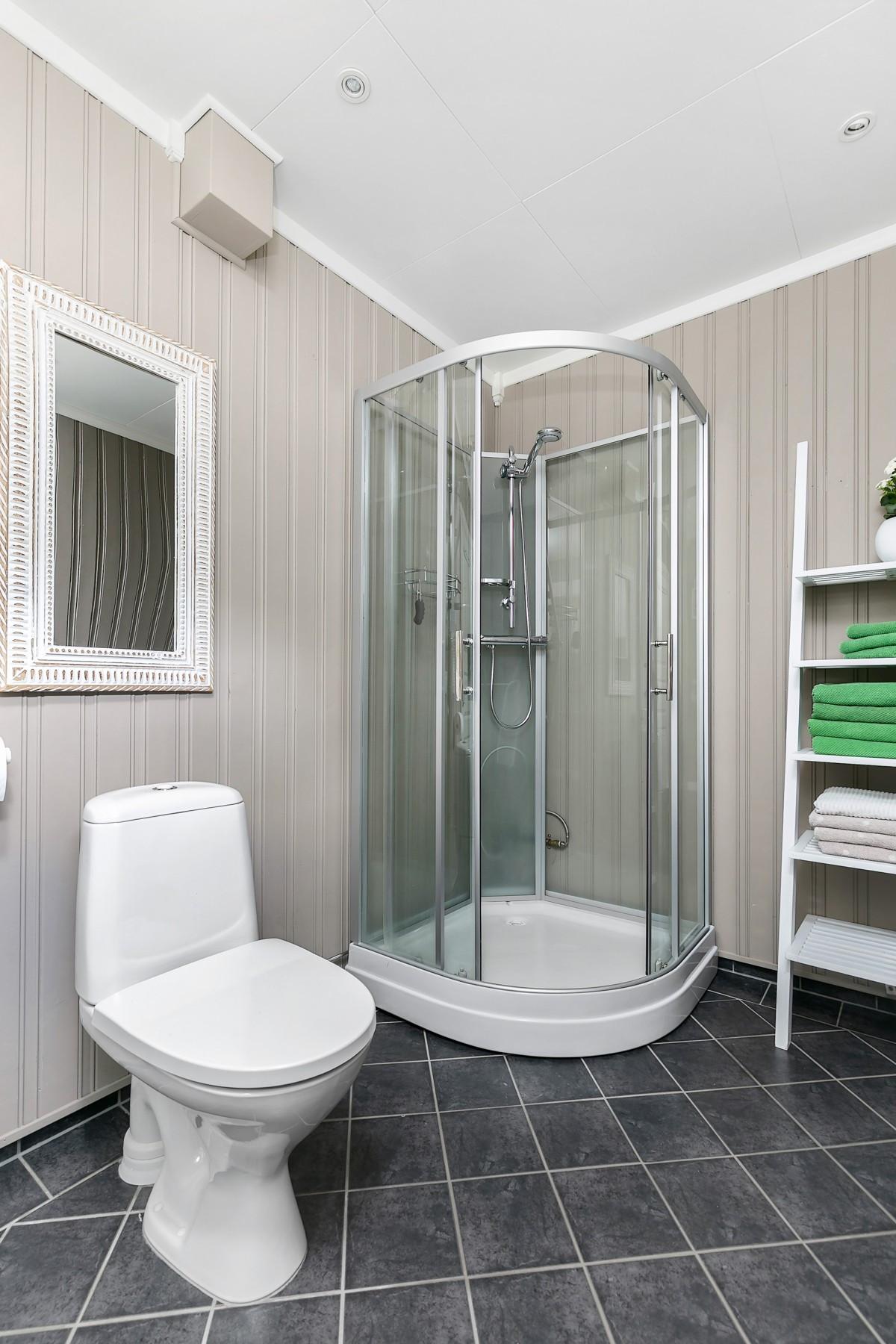 Praktisk med baderom i samme etasje som hovedsoverom og stue