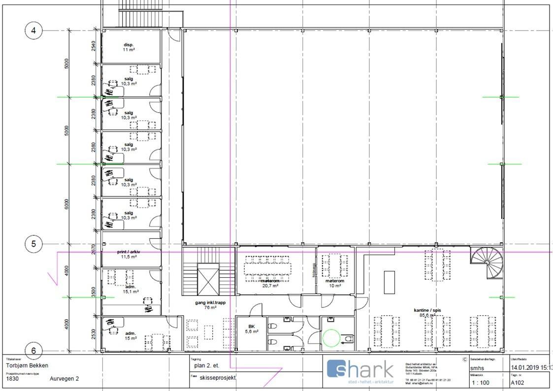 Planskisseforslag over kontor i 2. etg på ca. 350 kvm i kombinasjonsbygg på totalt ca. 2 150 kvm