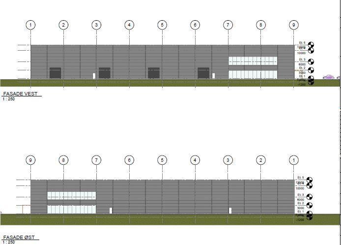 Skisseforslag over kombinasjonsbygg for lager og kontor på ca. 10 000 kvm