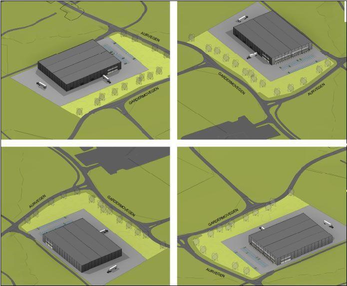 Perspektivtegning over skisseforslag over kombinasjonsbygg på ca. 10 000 kvm