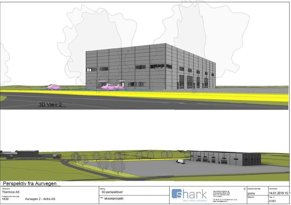 Skisse over kombinasjonsbygg på ca. 1800 kvm lager/verksted og 340 kvm kontor.