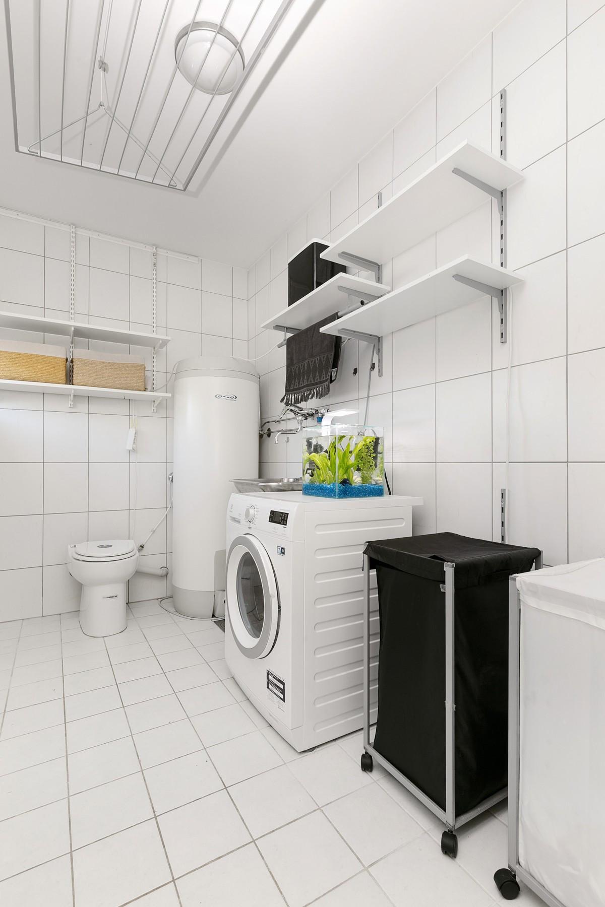 Vaskerom er også komplett fliselagt