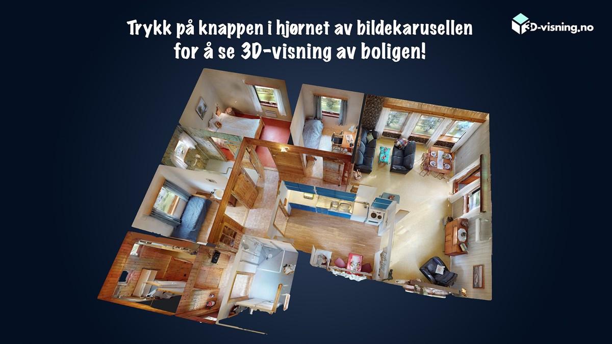 Se 3D-visning av boligen og garasje!