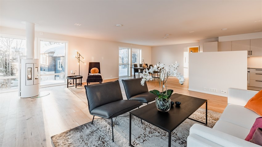Stor, lys og luftig stue med vedfyring og utgang til altan fra stuen
