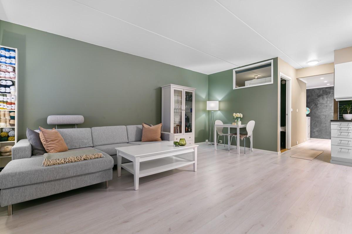 Det er god plass til stor sofagruppe og spisebord i den romslige stuen
