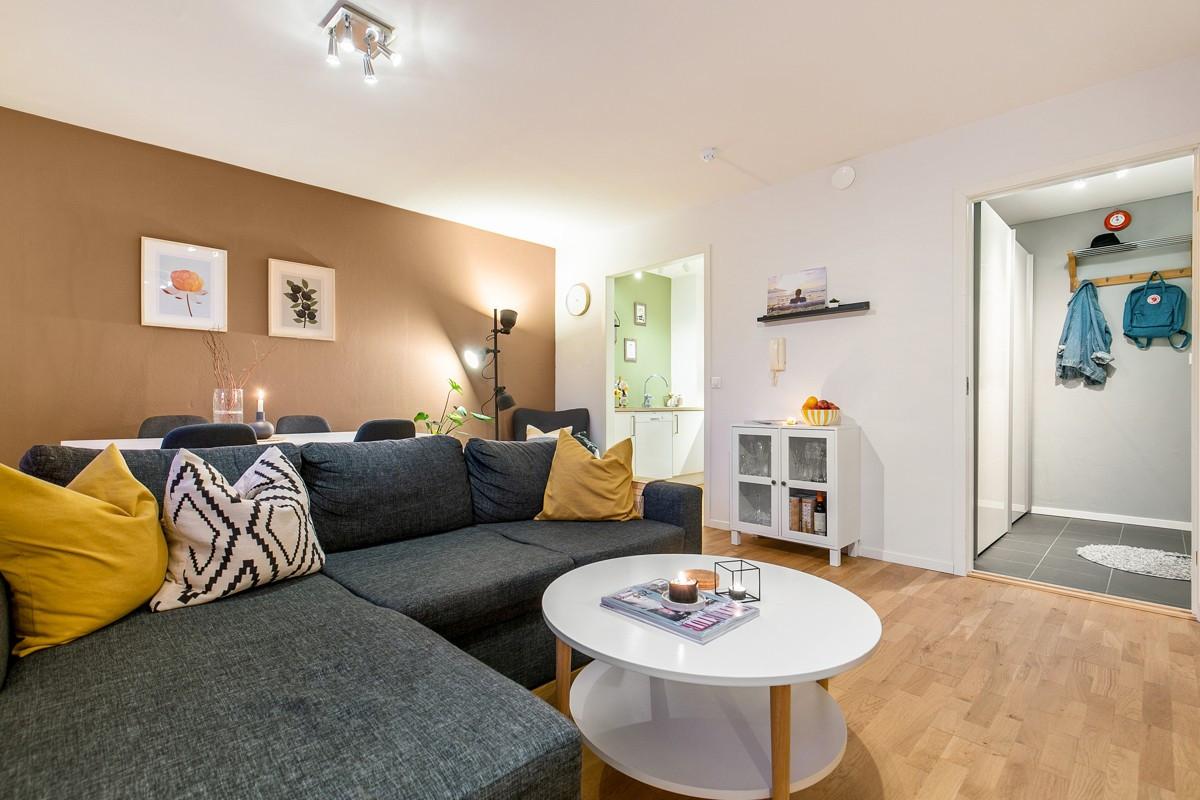 Arealeffektiv stue som gir gode møbleringsmuligheter
