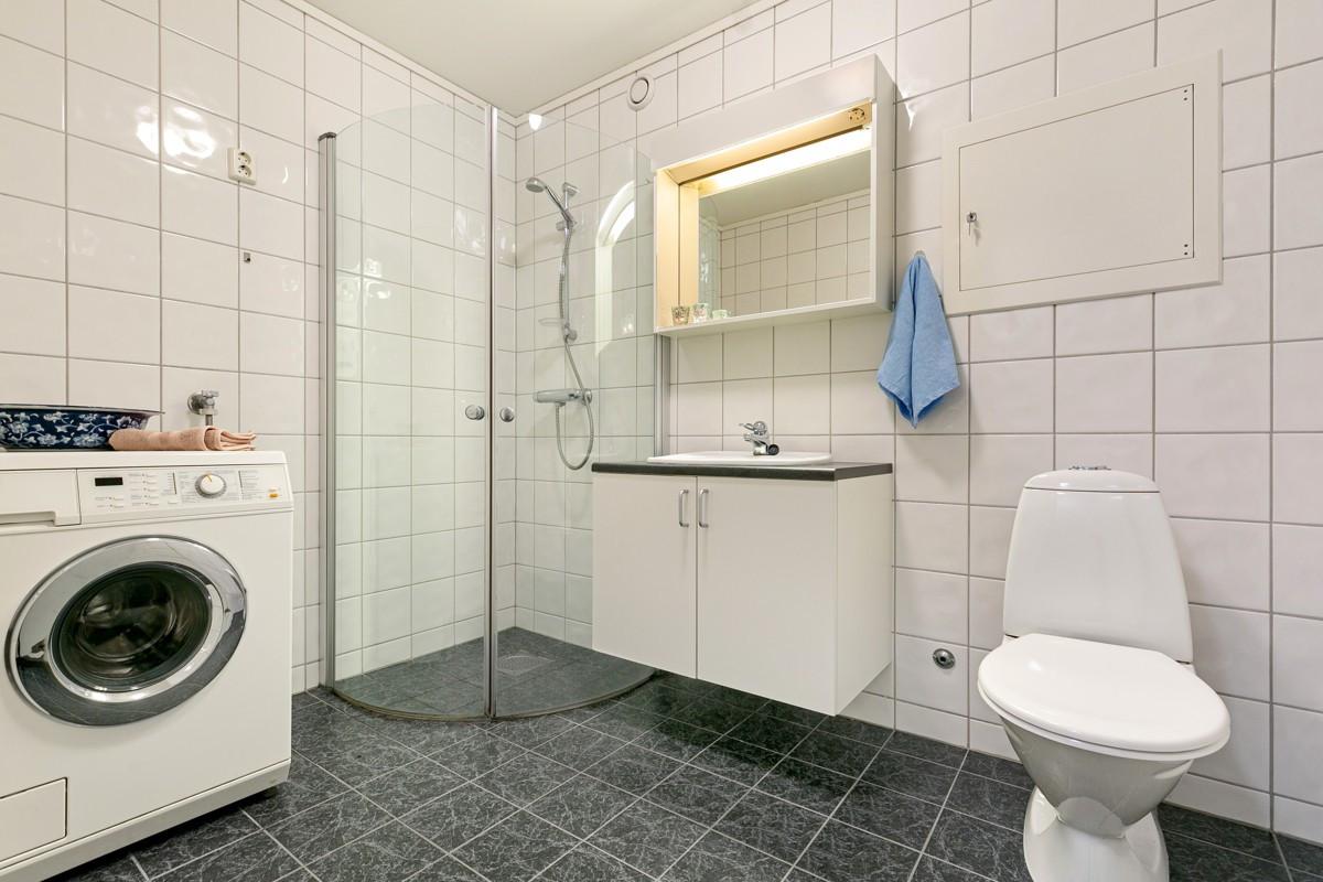 Baderom med dusjnisje, og rom for vask/tørk