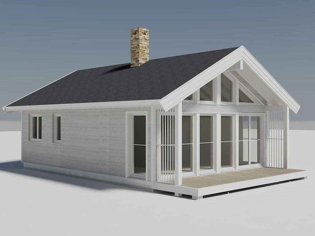 Illustrasjon av Buen Småroi panorama. En meget arealeffektiv hytte som praktisk talt har de samme funksjoner som langt større hytter, men til en liten pris.